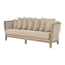 Marco Polo Imports - Blanche Sofa - Simple elegance and romance defines the Blanche sofa. Hand-made of Oak, crafted with soft curves and detailed carving, this sophisticated sofa is upholstered in natural cotton. Rich color and texture bring sophistication its classic shape.