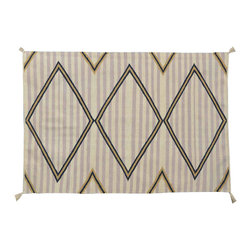 Striped Southwest Area Rug, 3' X 5' Reversible Hand Woven 100% Wool Rug SH11498 - Soumaks & Kilims are prominent Flat Woven Rugs.  Flat Woven Rugs are made by weaving wool onto a foundation of cotton warps on the loom.  The unique trait about these thin rugs is that they're reversible.  Pillows and Blankets can be made from Soumas & Kilims.