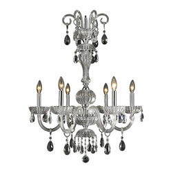 "Worldwide Lighting - Carnivale 6-Light Chrome Finish and Clear Crystal Chandelier 25"" D x 34"" H - This stunning 6-light chandelier only uses the best quality material and workmanship ensuring a beautiful heirloom quality piece. Featuring a radiant chrome finish and finely cut premium grade clear crystal with a lead content of 30%, this elegant chandelier will give any room sparkle and glamour. Worldwide Lighting Corporation is a privately owned manufacturer of high quality crystal chandeliers, pendants, surface mounts, sconces and custom decorative lighting products for the residential, hospitality and commercial building markets. Our high quality crystals meet all standards of perfection, possessing lead oxide of 30% that is above industry standards and can be seen in prestigious homes, hotels, restaurants, casinos, and churches across the country. Our mission is to enhance your lighting needs with exceptional quality fixtures at a reasonable price."