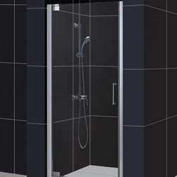 """Dreamline - Elegance Frameless Pivot Shower Door & SlimLine 32"""" x 32"""" Single Threshold Base - This DreamLine shower kit combines an ELEGANCE pivot shower door with a coordinating SlimLine shower base. The ELEGANCE pivot shower door delivers a fresh modern look with a frameless glass design, while adjustable installation features provide a perfect fit. A SlimLine shower base completes the transformation with a modern low profile design. Give your bathroom renovation a touch of elegance with this efficient bathroom renovation solution."""