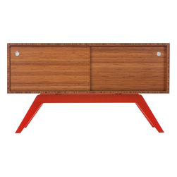 Eastvold Furniture - Elko Credenza Small, Bamboo, Red Base - It might look like a prized midcentury collectible, but this credenza is custom-crafted in Minnesota in your choice of base colors. Reinforced mitered joints allow the bamboo grain to wrap the exterior in a continuous sweep, while adjustable shelves and wire chases inside offer flexible storage for the den, dining room or office.