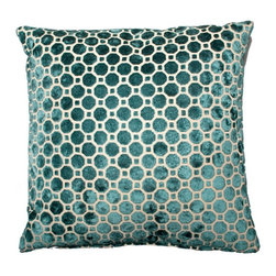 Designer Fluff - Velvet Hex Pillow, 22x22 - Plush velvet hexagons cover both sides of this sumptuous pillow. The pattern is matched at the seams, so the design is continuous. A concealed zipper keeps the feather/down insert discreetly in place, so nothing detracts from the fabric's graphic appeal.