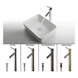Kraus - Kraus White Rectangular Ceramic Sink and Sheven Faucet Satin Nickel - *Add a touch of elegance to your bathroom with a ceramic sink combo from Kraus