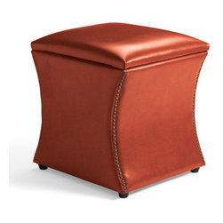 Grandin Road - Taylor Storage Ottoman - Thoughtfully proportioned for go-anywhere versatility. Crafted using custom-dyed textured leather over supportive cushioning. Designer details include a gracefully curving profile and individually hand-tacked nailhead trim. Hinged lid for easy interior access. Create new storage space and extra seating, simultaneously, with our Leather Taylor Storage Ottoman.  .  .  .  . Imported.