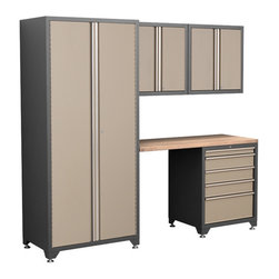 Newage Products - NewAge Products Pro Series Taupe 5-piece Cabinetry Set - The Pro Series 5-piece Set is an ideal storage solution for any workshop or garage. For a clean,unique,and fresh new look the Pro Series delivers. Relax and unwind while working on a project using the Maple block work surface.