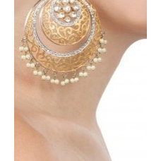 Gold filigree baali style danglers available only at Pernia's Pop-Up Shop.