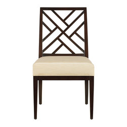 "Stanley Furniture - Continuum Fret Back Side Chair - Amaretto Cherry Finish - Expertly crafted Chippendale fretwork provides the familiar feel of traditional design on the Fret Back Chair. Upholstered in Murali Ottaman Old Ivory fabric. Seat 20 5/8"" W X 19 1/4"" D X 19"" H Made to order in America."