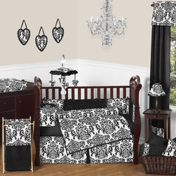 Sweet Jojo Designs - Isabella Black and White 9-Piece Baby Crib Bedding Set by Sweet Jojo Designs - The  baby bedding by Sweet Jojo Designs includes: comforter, bumper, dust ruffle, fitted sheet, toy bag, pillow, diaper stacker and 2 window valances.
