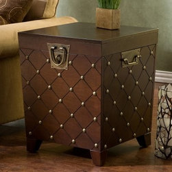 Southern Enterprises Nailhead End Table Trunk - Espresso - With its worldly appeal the Espresso Nailhead End Table Trunk is a great place to display souvenirs from your world travels. An Italian glass vase or Austrian clock would look great perched on this end table. Open the hinged top and you'll find plenty of storage space inside the deep trunk. Constructed of MDF wood with pine veneer this end table features a beautiful espresso finish. Durable metal hardware handles and a decorative padlock latch round out the piece. Assembly required. Tip: You can pair the end table with the matching Espresso Nailhead Coffee Table Trunk for a complete set.About SEI (Southern Enterprises Inc.)This item is manufactured by Southern Enterprises or SEI. Southern Enterprises is a wholesale furniture accessory company based in Dallas Texas. Founded in 1976 SEI offers innovative designs exceptional customer service and fast shipping from its main Dallas location. It provides quality products ranging from dinettes to home office and more. SEI is constantly evolving processes to ensure that you receive top-quality furniture with easy-to-follow instruction sheets. SEI stands behind its products and service with utmost confidence.