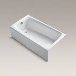 """KOHLER - KOHLER Mendota(R) 60"""" x 32"""" alcove bath with integral apron and left-hand drain - This Mendota bath offers the convenience of alcove installation with an integral apron and the durable beauty of KOHLER(R) enameled cast iron. Available in a palette of KOHLER colors, this straightforward design is a complement to any decor."""