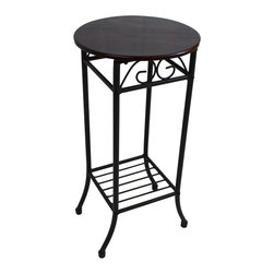 International Caravan - International Caravan Mandalay Round Plant Stand in Black - International Caravan - Accent Tables - 3456RD - The International Caravan Mandalay Plant Stand is made from premium wrought iron in a beautiful black finish. This plant stand holds one plant comfortably and its round flat wood top design ease of assembly is perfect for any corner of your home.