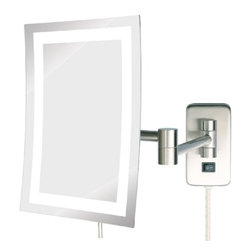 Jerdon JRT710NL 6.5-Inch by 9-Inch LED Lighted Wall Mount Rectangular Mirror - The Jerdon JRT710NL 6.5-Inch by 9-Inch LED Lighted Wall Mount Rectangular Makeup Mirror is the perfect bathroom and makeup accessory with various angle options to make your application process simple and catered specifically to your needs. This 5X magnifying wall mounted mirror features a 6.5-inch by 9-inch rectangular frame lighted with bright LED bulbs that produce a clean white light to apply your makeup. The double heavy arms extend up to 15.5-inches from the wall and are adjustable to almost any position. The JRT710NL has a 6-foot power cord, comes complete with mounting hardware and features an attractive nickel finish to match any home's decor. The Jerdon JRT710NL 6.5-Inch by 9-Inch LED Lighted Wall Mount Rectangular Makeup Mirror comes with a 1-year limited warranty. The Jerdon Style company has earned a reputation for excellence in the beauty industry with its broad range of quality cosmetic mirrors (including vanity, lighted and wall mount mirrors), hair dryers and other styling appliances. Since 1977, the Jerdon brand has been a leading provider to the finest homes, hotels, resorts, cruise ships and spas worldwide. The company continues to build its position in the market by both improving its existing line with the latest technology, developing new products and expanding its offerings to meet the growing needs of its customers.