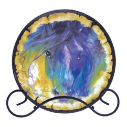 Westland - Abstract Blue Roan Round Decorative Plate with Black Holder - This gorgeous Abstract Blue Roan Round Decorative Plate with Black Holder has the finest details and highest quality you will find anywhere! Abstract Blue Roan Round Decorative Plate with Black Holder is truly remarkable.