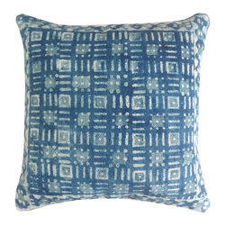 "Jaipur Rugs - Handmade Cotton Blue (16""x24"") Pillow - Dabu cotton pillows use a resist dying process to create interesting patterns.  This technique will have some variation in color due to the length of time that the die is applied."