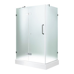 "VIGO Industries - VIGO 32 x 48 Frameless 3/8"" Frosted/Chrome Shower Enclosure - Update your bathroom with this uniquely stylish and totally frameless VIGO rectangular-shaped shower enclosure"