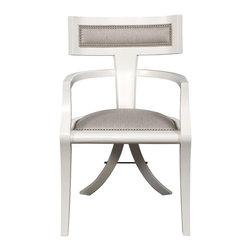 Vanguard Dining Room Greek Peak Arm Chair - Thom Filicia's elegant yet fun take on the ancient Greek klismos chair.