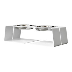 Doca Pet - 2 Cup Dogleg Diner Set, White - Bone appetit! Your pooch will love this ergonomic diner's comfort, and you'll appreciate the contemporary design. Made in Chicago, it includes two gleaming dog dishes.
