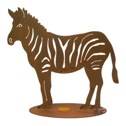 Large Zebra Garden Sculpture - Large Zebra Sculpture is perfect for the garden or patio. It is designed by California artist and cut from heavy rusted steel for years of enjoyment.