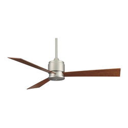 "Fanimation - Contemporary 54"" Fanimation Zonix Reversible Blades Ceiling Fan - A sleek and contemporary ceiling fan from Fanimation fans. This design comes in a satin nickel finish and includes three reversible cherry/walnut finish blades. The manual located on the fan's housing. Limited lifetime warranty. Fan rated for dry locations only. 54"" blade span. 188 x 20 motor 14 degree blade pitch. 6"" downrod included. 80"" lead wires. (ON UM)  Satin nickel finish.  Reversible cherry/walnut blades.  Limited lifetime warranty.  Four speed wall control included.  6"" downroad included.  14 degree blade pitch.   54"" blade span."
