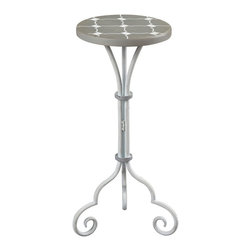 Sterling Industries - Sterling Industries 51-10135 Ayer-Small Plant Stand In Grey & White Painted - Plant Stand (1)