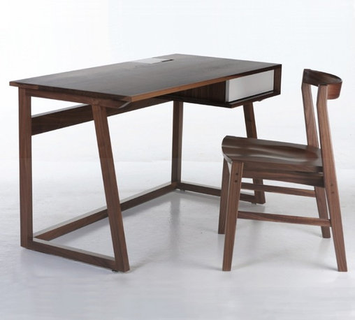 Commonhouse Furniture Block Desk - Block Desk by Commonhouse Furniture. A concealed storage compartment on the desktop and cable management throughout keeps all your latest technologies neatly out of sight but perfectly accessible. Coordinate the Block Desk with the Quartet Chair.