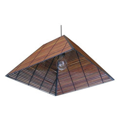 "Oriental Furniture - 9"" Yamanote Japanese Ceiling Lantern - This attractive ceiling light is a unique, inexpensive alternative to decorative ceiling light fixtures sold at hardware and home improvement outlets. Beautifully crafted from dark stained split bamboo on a steel frame, with a complete, UL approved, USA standard size bulb socket, power cord, and AC plug. These lanterns are simple to install. Simply screw a ceiling hook into a ceiling joist and hang the lantern by the power cord, which then plugs into the nearest wall outlet. Hang above a kitchen or dining room table, above a reading chair or desk, or over a landing or foyer. If you want to permanently install the lantern as a light fixture, you should hire a professional electrician to wire it into a junction box in the ceiling."