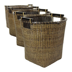 Oriental Furniture - Rattan Tall Storage Basket ( Set of 4 ) - Antique Finish - This is a beautiful set of four top quality natural fiber baskets. Crafted from tightly woven Asian split vine rattan and finished in an earthy antique stain, these woven baskets have a myriad of uses around your home. Use one for newspapers and magazines in the living room, another for hats and gloves near the door, and the small design for a decorative waste basket or planter.