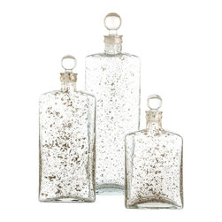 "Arteriors - Georgia Decanters, Set of 3 - Set of three clear glass decanters with a unique surface texture created when the pieces are blown with sand and metals, then layered with a second layer of glass. Food safe.  Large: 16"" h  Medium: 12 1/2"" h  Small: 9 1/2"" h"