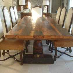 Reclaimed Antique Wood Dining Table with Turned Trestle Base - Reclaimed Antique Wood Dining Table with Turned Trestle Base