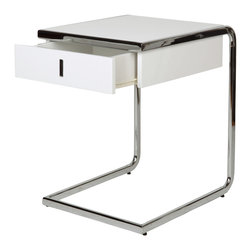 White Line Imports - Havana Side Table with Drawer - It can be an excellent background for small decorations: vases, candles, flower arrangements. This Havana Side Table isconvenient because you can put there your favorite magazine and the TV remote. It includes one spacious drawer for saving small items.