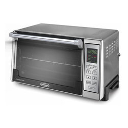DeLonghi - 0.7 Cu. Ft. S/S Convection Oven with Digital Controls - The DeLonghi DO2058 0.7 Cu. Ft. 1300W Convection Toaster Oven, with Digital Controls, features an interior large enough to cook two 12-inch pizzas at the same time or bake an entr�e and side dish so you can make a meal for the whole family right on your countertop. The large 6 slice toast capacity lets you make enough toast for the whole family all at the same time. The toast color selector with automatic Shut-Off  lets you choose settings from light to dark for toast just the way you like it. With the User-Friendly digital controls you can choose from Convection Bake, Broil, Toast, Keep Warm and Pizza. Convection fan-circulated hot air distributes heat evenly for consistent results and cooks food 30-40% faster. The interior light allows you to view the entire cooking process and the Non-Stick interior makes cleanup quick and effortless. This model includes Non-Stick bake pan, Non-Stick broil tray and 2 wire racks. Sleek, attractive 1300-Watt convection toaster oven complements any kitchen decor.