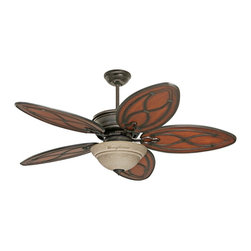 "Emerson - Asian 52"" Tommy Bahama Copa Breeze Amber Mist Light Ceiling Fan - From the Tommy Bahama collection comes the Copa Breeze ceiling fan. It features a distressed bronze finish with five all-weather medium antiqued brown finish blades. Tommy Bahama Ceiling Fans tropical design ceiling fans capture the essence of island living allowing you to experience the trade winds at the flick of a switch. 52"" blade span and 12 degree blade pitch. 172x20mm motor size with limited lifetime motor warranty. Includes wall control and 4 1/2"" downrod. (IMAP)  Distressed bronze motor finish.   Antiqued brown finish ABS blades.   52"" blade span.   12 degree blade pitch.   172x20mm motor size.   Limited lifetime motor warranty.   Includes two wall controls to use with or with out light kit.   Amber mist bowl light kit.  Three 13 watt CFL bulbs included.   Fan with Light Kit UL listed Damp.   Fan height 12"" blade to ceiling (with 4 1/2"" downrod).   Fan height 18-3/4"" ceiling to bottom of light kit 9with 4-1/2"" downrod).   4 1/2"" downrod included.   Canopy 6 3/4"" wide."