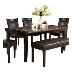 Homelegance - Homelegance Thurston Faux Marble Dining Table in Espresso - A natural selection for your transitional home, the Thurston collection will compliment your lifestyle. The diamond pattern of the faux marble is set within a bold Wood frame. With dark brown bi-cast vinyl seating and Espresso finish to compliment it all, this dining collection will be a welcome addition to your home.