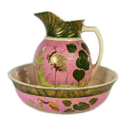 Lavish Shoestring - Consigned Pink Crane Flower Water Jug and Basin, Antique English, circa 1875 - This is a vintage one-of-a-kind item.