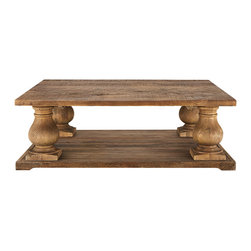 Hudson Small Coffee Table - Constructed of 100% reclaimed pine, the Hudson occasional group showcases beautiful balustrade legs with time-worn details and distressing. Staying true to the character of reclaimed wood, each piece will be unique and beautiful with slightly different shading, wood patterns and graining.