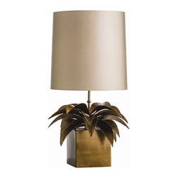 Arteriors - Gardner Lamp - Vintage brass leaves appear to cascade out of a cube creating a unique lamp body that we have topped with a tall drum shade made out of a sheer taupe microfiber and is lined in the same.  Takes 1 - 150 w 3-way bulb.