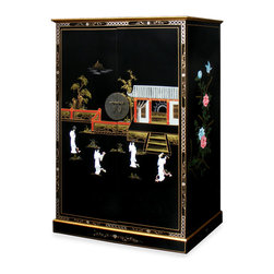 China Furniture and Arts - Black Lacquer Courtyard Design Computer Armoire - A beautiful hand-painted Chinese courtyard scene with dancing mother of pearl maidens decorate a sleek glossy black surface. Behind the large pocket doors, a large open compartment is perfect for housing a computer monitor. Above your monitor, store media accessories in five open shelves and two drawers. Below, a pull-out keyboard tray, a small drawer, four open shelves, and a file drawer provides ample space for a computer unit and other stationary supplies. Highly functional and stylish, this cabinet discretely hides all computer equipment behind its two doors when closed. Matching brass hardware and Ming round doorplates. Assembled.