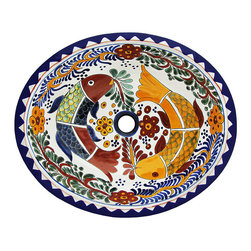 Talavera Home Accessories - Talavera sinks feature wonderfully intricate floral and animal patterns that will become the highlight of any bathroom decor! The ceramic of these Talavera sinks is hand-painted in Dolores Hidalgo, Mexico, and embodies all the classic charm of Mexican Talavera. Available in two sizes, all Talavera sinks from La Fuente Imports are self-rimming for easy installation, feature a built-in drain hole (connects to the bottom drain internally), and have a plain white exterior.