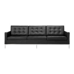 """IFN Modern - Florence Knoll Style Sofa - Italian Leather, Black - Florence Knoll, an acclaimed architect and designer, first conceived this beautiful sofa in 1956. Knoll's philosophy for furniture design comes from the value that she placed on practicality and aesthetic beauty. The pieces resulting from her philosophical vision are considered to be minimalistically beautiful without compromising on durability and comfort. Knoll was also known to study and collaborate with renowned architect and designer Mies Van Der Rohe, this collaboration also lended a hand in her highly sought after artistic vision. designed the luxuriously classic Florence Knoll Sofa using a durable stainless steel frame which contained minimal materials. . The chair features beautiful cubic cushions complimented with compressed buttons in a functional layout which provides both style and comfort to the thin, minimalist supporting arms. The Florence Knoll Sofa, Loveseat, and Chair are highly desired as their minimal yet practical design can adapt perfectly into today's modern home or space.                                                                                                                                                                                        Overall Dimensions: 31.5"""" H x 90.5""""L x 32.3"""" D"""