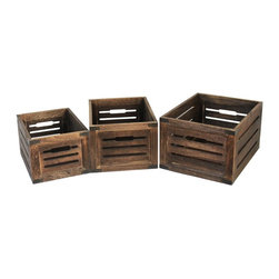 Screen Gems - Brown Distressed Wooden Box with metal Corner. - Need a visually appealing storage solution? Look no further. These distressed wooden crates with metal accents are reminiscent of earlier times, and will make a tasteful impression on your home. Whether you use them to hold games, afghans or paperwork, these boxes are the ultimate storage solution for those with an eye for agelessly appealing accessories.