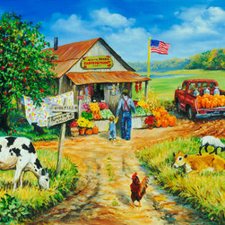 Murals Your Way - Aunt Fay's Market - Panoramic Wall Art - Painted by Linda  Picken, Aunt Fay's Market - Panoramic wall mural from Murals Your Way will add a distinctive touch to any room