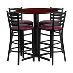 """Flash Furniture - 30"""" Round Mahogany Table Set with 4 Ladder Bar Stools - Burgundy Vinyl Seat - No need to buy in pieces, this complete Bar Height Table and Stool set will save you time and money! This set includes an elegant Mahogany Laminate Table Top, X-Base and 4 Metal Ladder Back Bar Stools. Use this setup in Bars, Banquet Halls, Restaurants, Break Room/Cafeteria Settings or any other social gathering. Mix in Bar Height Tables with standard height tables for a more varied seating selection. This Commercial Grade Table Set will last for years to come with its heavy duty construction."""