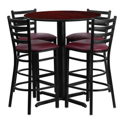 "Flash Furniture - 30"" Round Mahogany Table Set with 4 Ladder Bar Stools - Burgundy Vinyl Seat - No need to buy in pieces, this complete Bar Height Table and Stool set will save you time and money! This set includes an elegant Mahogany Laminate Table Top, X-Base and 4 Metal Ladder Back Bar Stools. Use this setup in Bars, Banquet Halls, Restaurants, Break Room/Cafeteria Settings or any other social gathering. Mix in Bar Height Tables with standard height tables for a more varied seating selection. This Commercial Grade Table Set will last for years to come with its heavy duty construction."