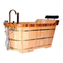 Free Standing Oak Wood Bath Tub