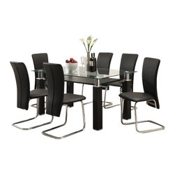 """Acme - 7-Piece Riggan Collection Modern Style Small Glass Top Dinette Set - 7-Piece Riggan collection modern style small glass top dinette set with black leather like upholstered chairs. This set features a glass top table with metal base and glass top , 6 - side chairs with a Black leather like upholstery. Table measures 33"""" x 59"""" . Chairs measure 39"""" H at the back. Some assembly required."""