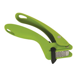 Kuhn Rikon - Kuhn Rikon Easy Squeeze Garlic Press - Green - The award-winning Easy-Squeeze Garlic Press by Kuhn Rikon uses 60% less effort than the typical garlic presses and includes scraper to remove garlic from its stainless steel basket.