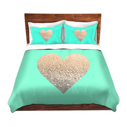 DiaNoche Designs - Duvet Cover Twill - Gatsby Gold Mint Heart - Lightweight and soft brushed twill Duvet Cover sizes Twin, Queen, King.  SHAMS NOT INCLUDED.  This duvet is designed to wash upon arrival for maximum softness.   Each duvet starts by looming the fabric and cutting to the size ordered.  The Image is printed and your Duvet Cover is meticulously sewn together with ties in each corner and a concealed zip closure.  All in the USA!!  Poly top with a Cotton Poly underside.  Dye Sublimation printing permanently adheres the ink to the material for long life and durability. Printed top, cream colored bottom, Machine Washable, Product may vary slightly from image.