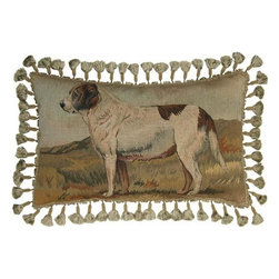 EuroLux Home - New Aubusson Throw Pillow with Dog Handmade - Product Details