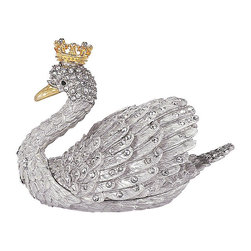 Frontgate - Swan Keepsake Box - Intricate gold and silver design with inlaid Swarovski crystals. Thoughtful holiday gift. Perfect for displaying year-round. Our regal Swan Keepsake Box sparkles in the light. Preserve tiny treasures in this beautiful Olivia Riegel creation. . . .