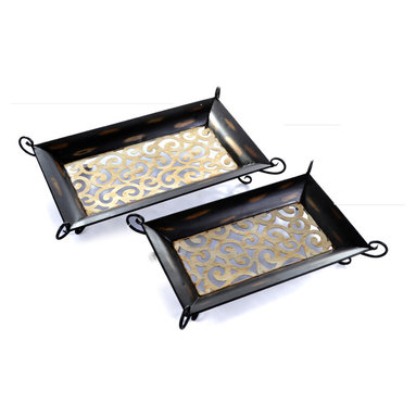 "Concepts Life - Concepts Life Decorative Tray  Tre Chic  Hand Painted  Large - Inspired by vintage french cast-iron decor, our Tre Chic collection is uniquely rustic and strikingly romantic. These hand-painted iron rectangular trays can be used as decorative pieces in your entryway, living room, or even in your outdoor space. Stack them or cluster them for an equally striking effect. Two iron decorative cut-out trays; medium and large. Hand-welded and hand-painted in black and gold. Stylish blend of modern and romantic. The delicate iron-work may reveal small dents; vase is easily reshaped with gentle pressing. Dimensions: 15"" rectangular x 5""d. Weight:4 lbs."